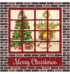 Christmas room through the window postcard vector