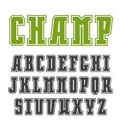 Slab serif font in college style with contour vector