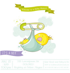 Cute newborn parrot baby shower or arrival card vector