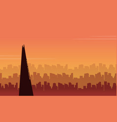 Beauty scenery london city building silhouettes vector