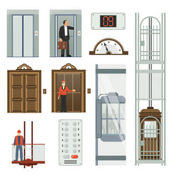 elevator icon set vector image