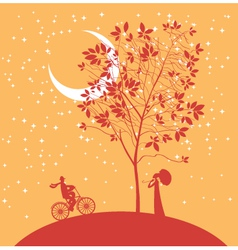 Date under the moon vector