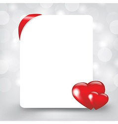 Silver card with hearts vector