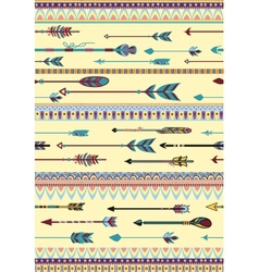 Ethnic patterns with arrows vector