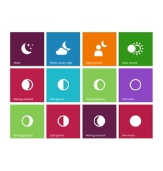 Full moon phases icons on color background vector
