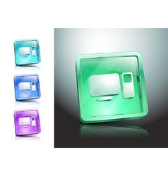 Glass icons set green computers monitor vector