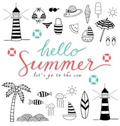 Hello summer black icons vector