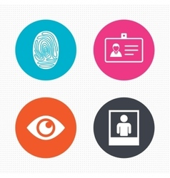 Identity id card badge icons eye symbol vector
