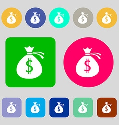 Money bag icon sign 12 colored buttons flat design vector