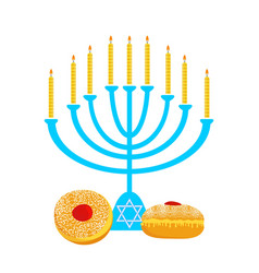 Hanukkah menora with candles and traditional vector