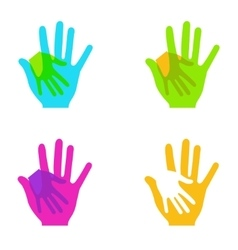 Modern colorful hands holding set on white vector