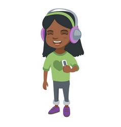 african girl listening to music in headphones vector image