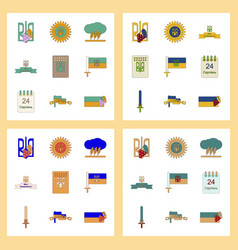 Assembly flat icons ukraines independence day vector