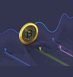 Bitcoin cryptocurrency evolution graph vector