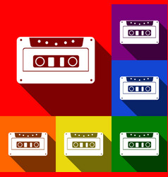 Cassette icon audio tape sign set of vector