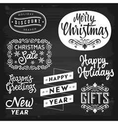Christmas and new year greetings badges vector