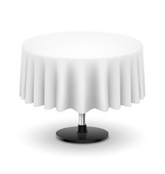 Classic round table with white cloth isolated on vector