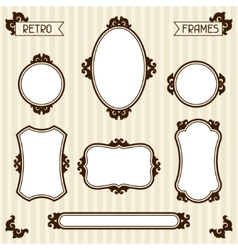Collection of vintage frames in retro style vector image vector image