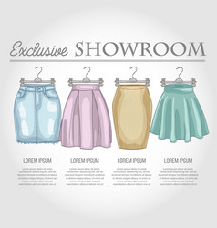 Color showroom set of woman casual clothes vector