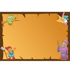 Fairy tale frame wizards vector
