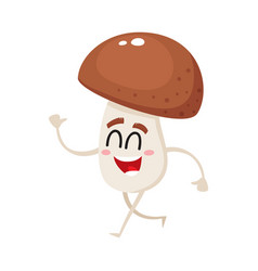 funny happy porcini mushroom character with vector image vector image