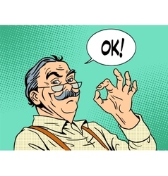 Grandpa gesture okay old man approval experience vector image