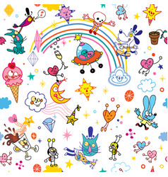 Group of cartoon characters fun seamless pattern vector