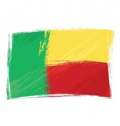 grunge Benin flag vector image