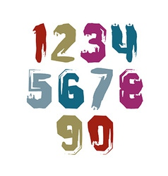 Hand drawn stroked numerals collection of unusual vector image