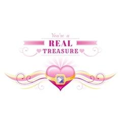 Happy valentines day border golden ring treasure vector