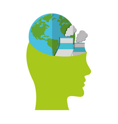 Head think green globe nuclear power plant vector