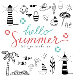 hello summer black icons vector image vector image
