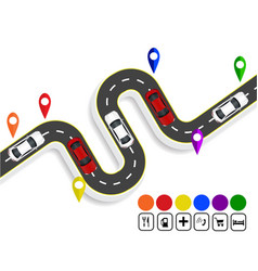 Infographics marks navigator winding road with vector