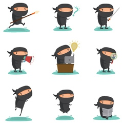 Ninja Mascot set 1 vector image