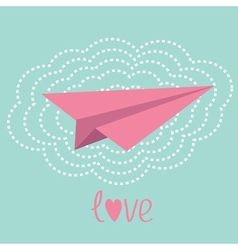 Origami paper plane and big cloud in the sky Love vector image