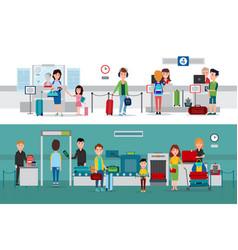 Passport control procedure during crossing border vector