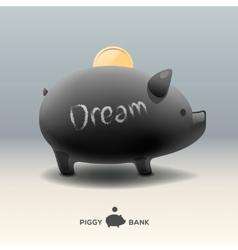 Piggy moneybox with golden coin - for dream vector
