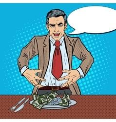 Pop art rich greedy businessman eating money vector
