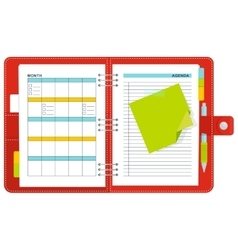 red notebook organizer vector image vector image