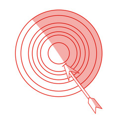 Red silhouette shading arrow hitting a target vector