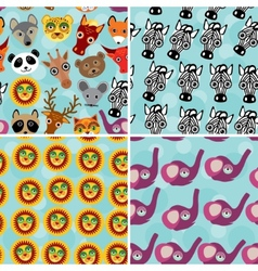 Set 4 Seamless pattern with funny cute animal face vector image vector image