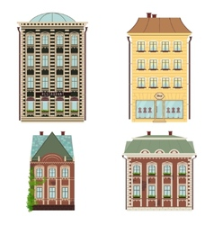 Set of 4 houses isolated on the white vector image