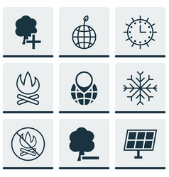 Set of 9 eco icons includes pin earth snow vector