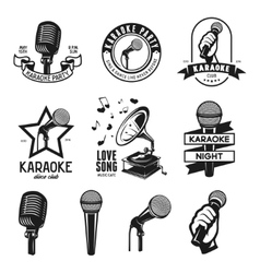 Set of karaoke related vintage labels badges and vector image