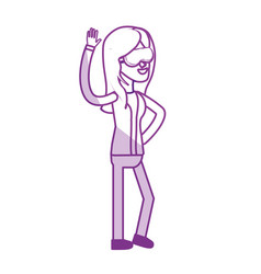 Silhouette cute woman with hand up and glasses vector