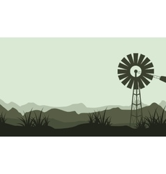 Silhouette of windmill beauty landscape vector image