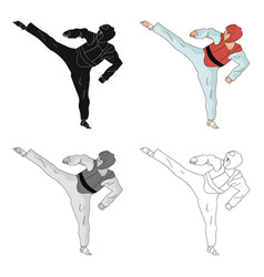 Taekwondo fighter in white kimono and red vector