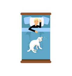 Teen boy sleeping in the bed with his dog view vector