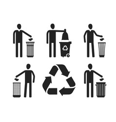 Trash can or bin with human figure recycling do vector