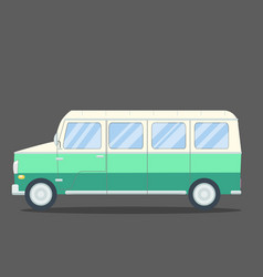 Travel van flat square icon with long shadows vector